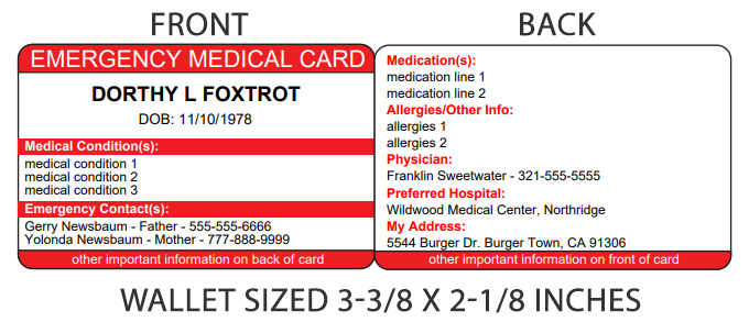 Emergency Medical ID Wallet Card Sample Image
